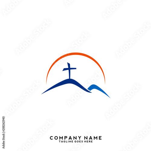 Cuadros en Lienzo Church vector logo symbol graphic abstract template