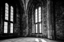 Architectural Details Of The Interior Of The Abbey At Mt St Michel