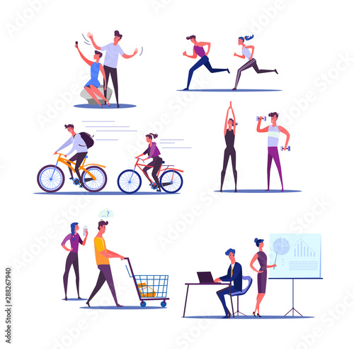Fototapeta Young couple living active life. Male and female cartoon characters doing sports and business together. Vector illustration for banner, poster, leaflet obraz na płótnie