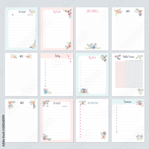 Obraz Set of planners and to-do lists with flowers for kids - fototapety do salonu