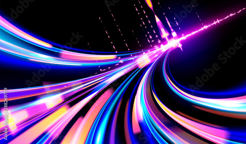 Photo Abstract cyberpunk light trails or light motion in slow shutter effect