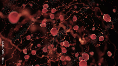 Fotografie, Obraz  Hospital health care and medical future technology, 3D virtual reality simulation red blood cells immune and infection human body health care science ideas concept