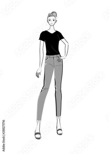 女の子 イラスト シンプル