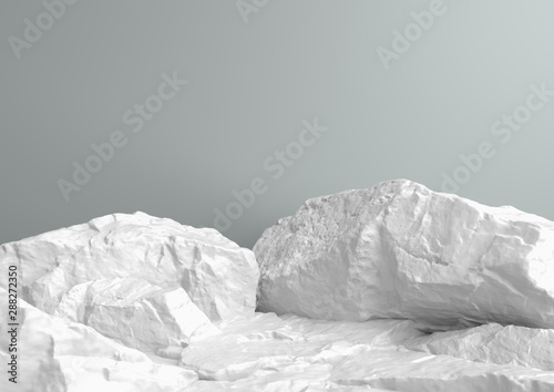 Fotografía Scene for showcase or cosmetic product presentation, in white pastel colors, 3d rendering