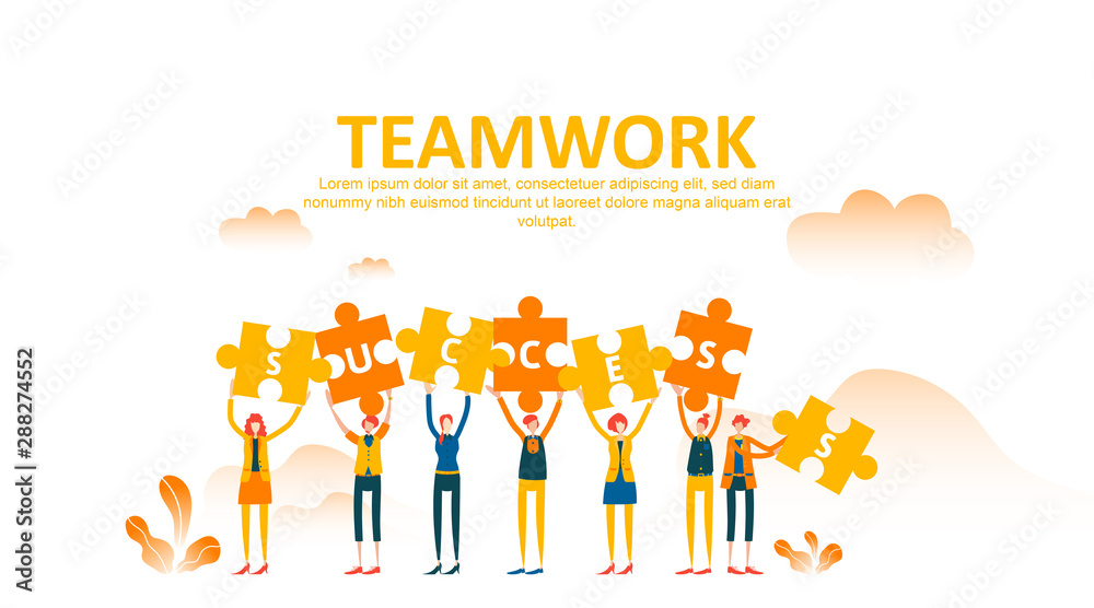 Fototapeta Business concept lift up puzzle. Teamwork metaphor. Little people raise their hand holding jigsaw with success text and celebrate. Symbol of cooperation, collaboration, finance, partnership. - Vector