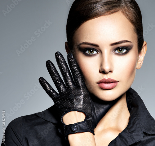 Woman makeup face fashion beautiful portrait  hairstyle slicked Wall mural