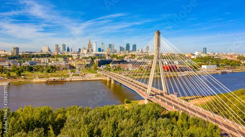 Obraz Warszawa z lotu ptaka, Most Świętokrzyski - fototapety do salonu