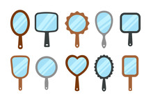 Hand Mirrors With Light Reflection. Blank Handheld Makeup Mirrors. Flat Icon Set. Female Beauty Accessories