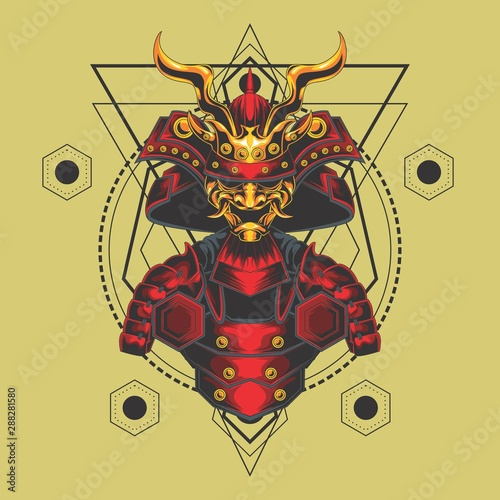 samurai armor sacred geometry Fototapeta