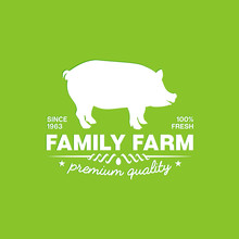 Emblem Of A Family Farm With Premium Quality Fresh Pork On A Green Background. Vector Green Illustration Of The Emblem Of A Family Farm