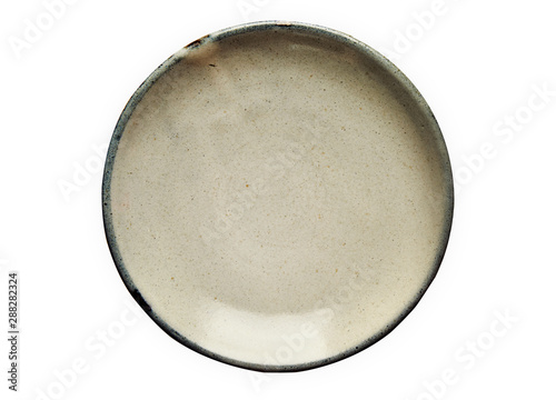 Fotografie, Obraz Ceramic plate, Empty plate with granite texture, View from above isolated on whi