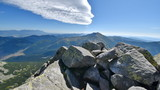 View from Mount Chopok in Sunny Day, High Tatras in the background, ski resort Jasna, Low Tatras National Park, Slovakia