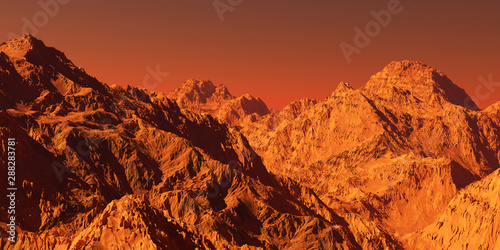Recess Fitting Orange Glow Mars landscape, 3d render of imaginary mars planet terrain, science fiction illustration.