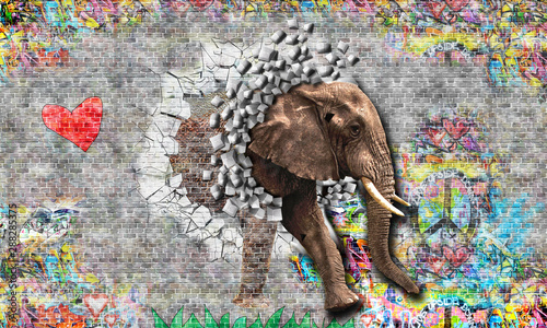 Graffiti on a wall an elephant comes out of a brick wall. 3d rendering.