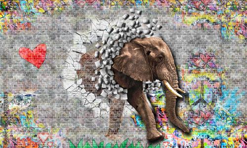 Obraz premium Graffiti na ścianie, z ceglanej ściany wyskakuje słoń. Renderowanie 3d.