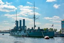 Aurora Cruiser On Neva River, St. Petersburg, Russia