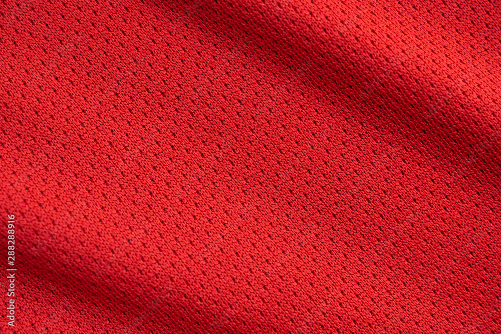 Fototapety, obrazy: Red sports clothing fabric football jersey texture close up