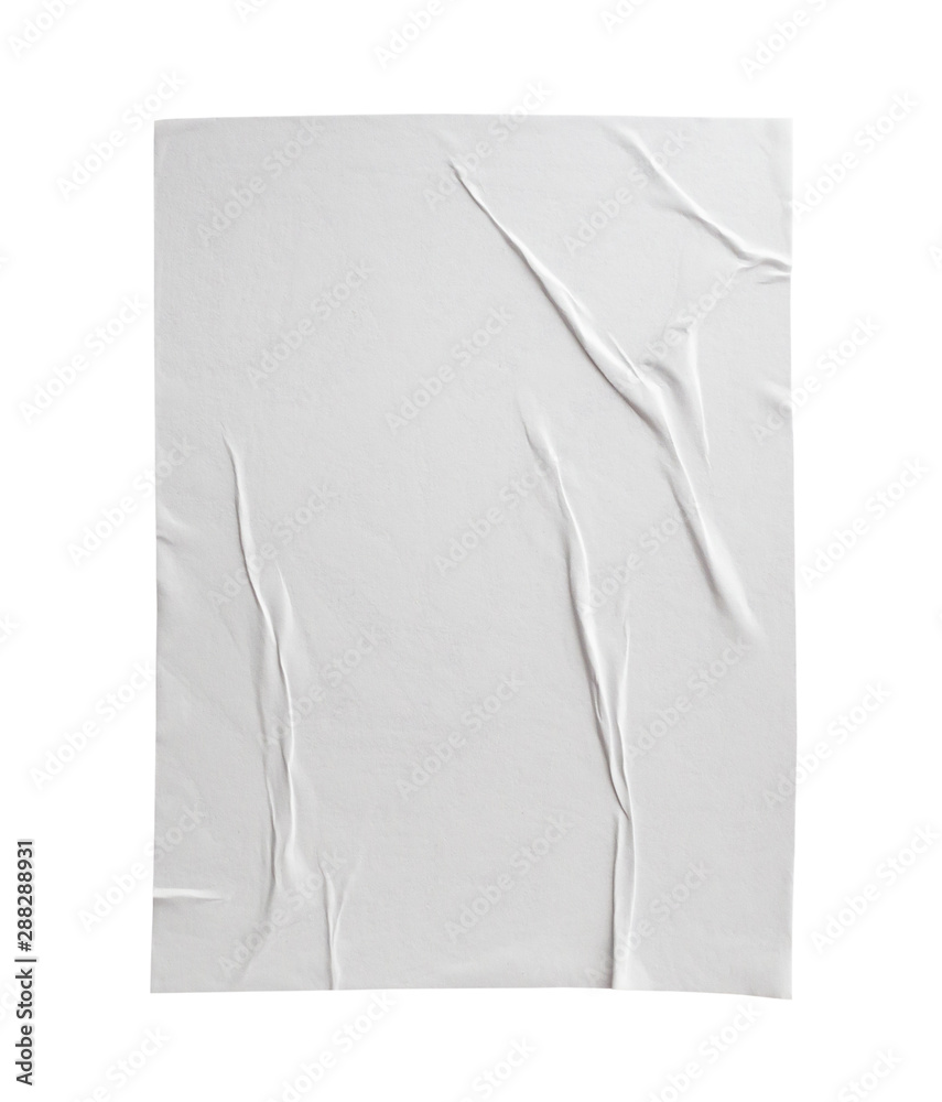Fototapety, obrazy: Blank white crumpled and creased paper poster texture isolated on white background
