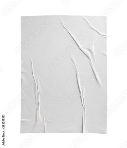 Poster Akt Blank white crumpled and creased paper poster texture isolated on white background