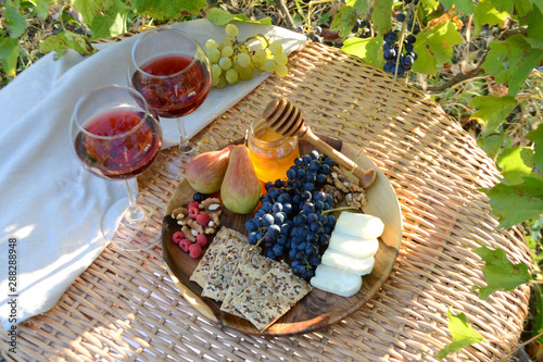 Aluminium Prints Picnic Autumn picnic in the garden Wine glasses and wine snacks on a wicker table outdoor Lunch in nature