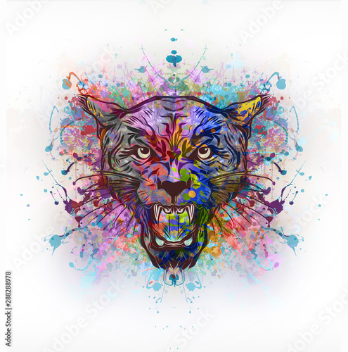 Tiger head with creative abstract element on white background - Illustration