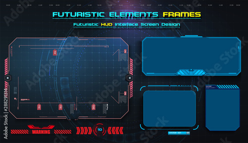 Hud Ui Ux Gui Futuristic User Interface Screen Elements Set High Tech Screen For Video Game Sci Fi Concept Design Callouts Titles Modern Banners Frames Of Lower Third Red Vector Illustration Buy This