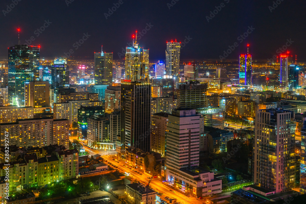 Fototapety, obrazy: City Center of Warsaw at night, capital of Poland