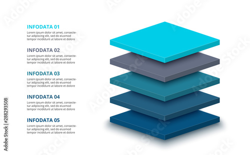 3d plates with 5 segments or layers Poster Mural XXL