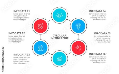 Stampa su Tela Cyclic diagram infographic with circles