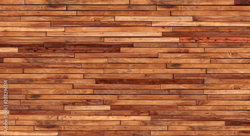 Poster Bois Small pieces of pine Arranged together into a beautiful wooden wall For interior decoration of buildings or floors and web backgrounds,Old wood wall texture , wooden background , brick Texture Banner