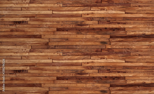 Foto auf Gartenposter Holz Small pieces of pine Arranged together into a beautiful wooden wall For interior decoration of buildings or floors and web backgrounds,Old wood wall texture , wooden background, brick Texture Banner