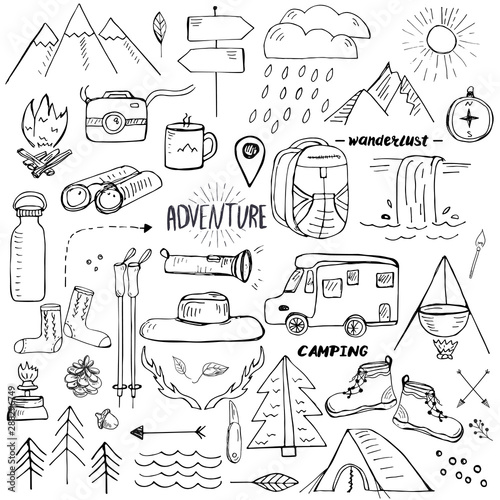 Fotografie, Obraz Hand drawn elements related to hiking, camping and travelling