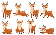 Cute Cartoon Deer. Running Reindeer, Wildlife Fawn And Deers Child. Xmas Reindeer Character Or Wildlife Forest Deer Mammal. Isolated Vector Illustration Icons Set