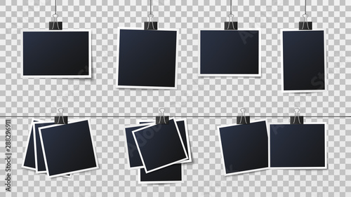 Fototapeta Photos on clips. Vintage photo frame, framed photograph and frames on pins template. Empty instant camera snapshot, vintage photography image isolated vector illustration obraz na płótnie
