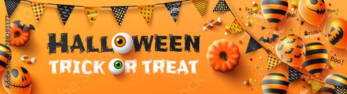 Fényképezés  Happy Halloween trick or treat poster with Halloween Ghost Balloons