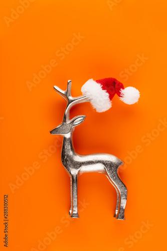 canvas print motiv - gitusik : Christmas decor. Christmas decorations on orange background. Flat lay, top view, copy space.