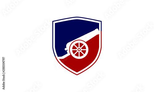 An icon about cannon with shield logo design  concept, Cannon icon vector isolat Tapéta, Fotótapéta