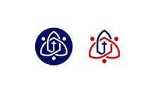 Church Logo. Christian Symbols. The Cross Of Jesus, Template Logo For Churches And Christian Organizations Cross Of Calvary In The Sun. Calvary Cross Church Logo. Unique Church Logo, Church Vector Log