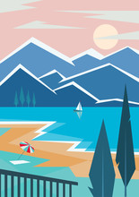 Mountain And Lake Landscape Illustration. Vector Travel Poster In Art Deco Style