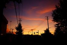 夕焼けと町