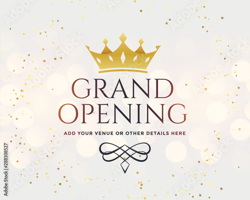 Carta da parati white grand opening banner with golden crown