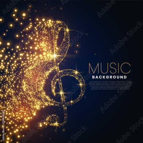 Cuadros en Lienzo music note made with glowing particles background design