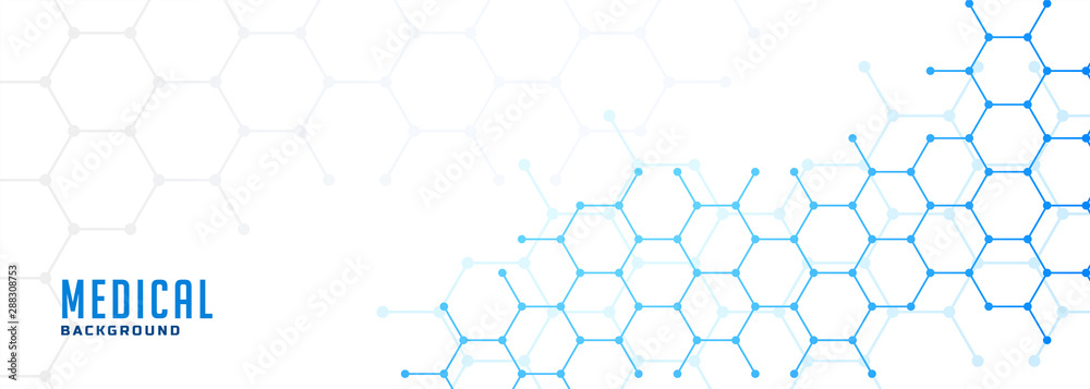 Fototapeta molecular hexagonal structure healthcare and medical background