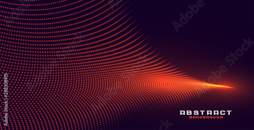 glowing abstract orange particle wave background design - 288308915