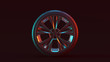 canvas print picture - Silver Alloy Rim Wheel with 5 Detailed Flared Spokes Open Wheel Design with Racing Tyre with Red Blue Moody 80s lighting 3d illustration 3d render