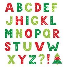 Christmas Cartoon Vector Alphabet, Isolated Design Elements