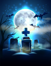Vector Spooky Cemetery Graves For Halloween Party