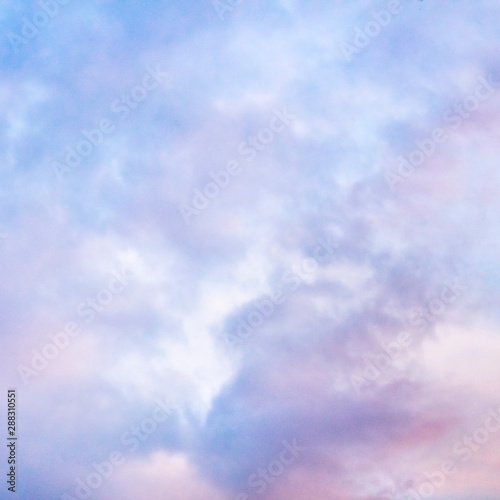 Abstract romantic pastel background. Purple sky, toned image, square frame for a quote