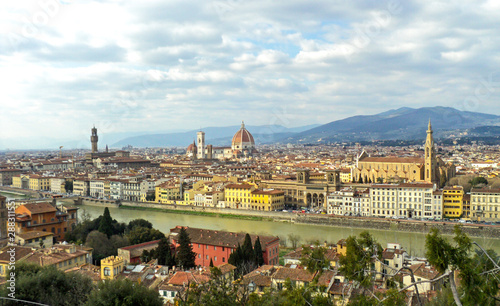 Aluminium Prints Florence Beautiful view of Florence, Italy. Panorama of famous ancient Italian city in spring time.