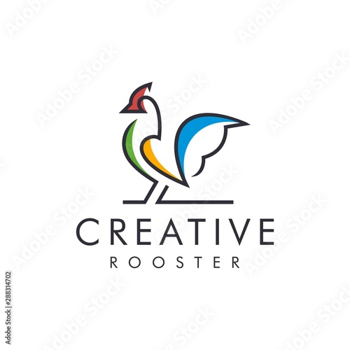 Canvas Print Unique Rooster logo - vector illustration of design on a light background